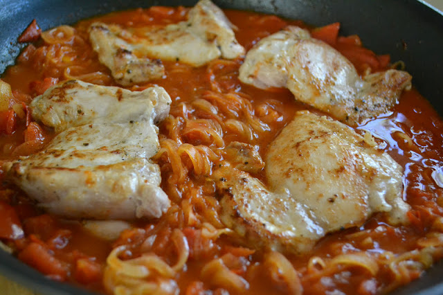 Chicken Paprikash in sauce with onions