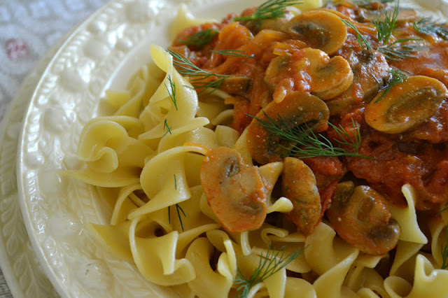 Chicken Paprikash with noodles