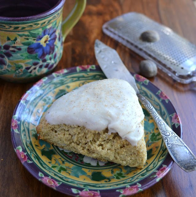 Chai Latte Scones on a pretty plate with mug of coffee