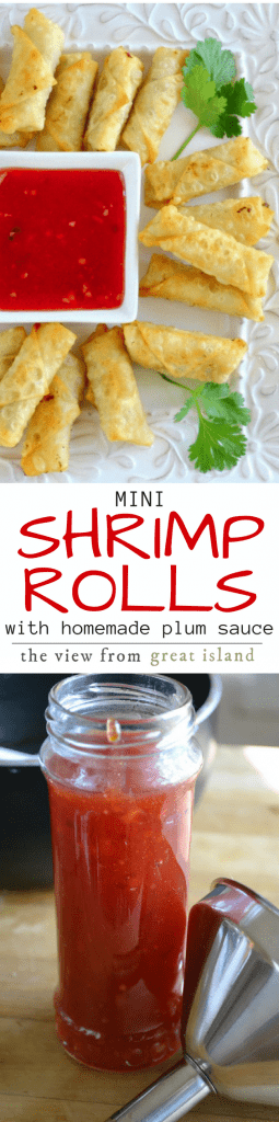 Mini Shrimp Rolls with Homemade Plum Sauce ~ these impossibly crisp little rolls are filled with tender shrimp, fresh ginger, and spring onion, and then served with an equally amazing tangy plum sauce ~ yum! | appetizer | Asian | seafood |