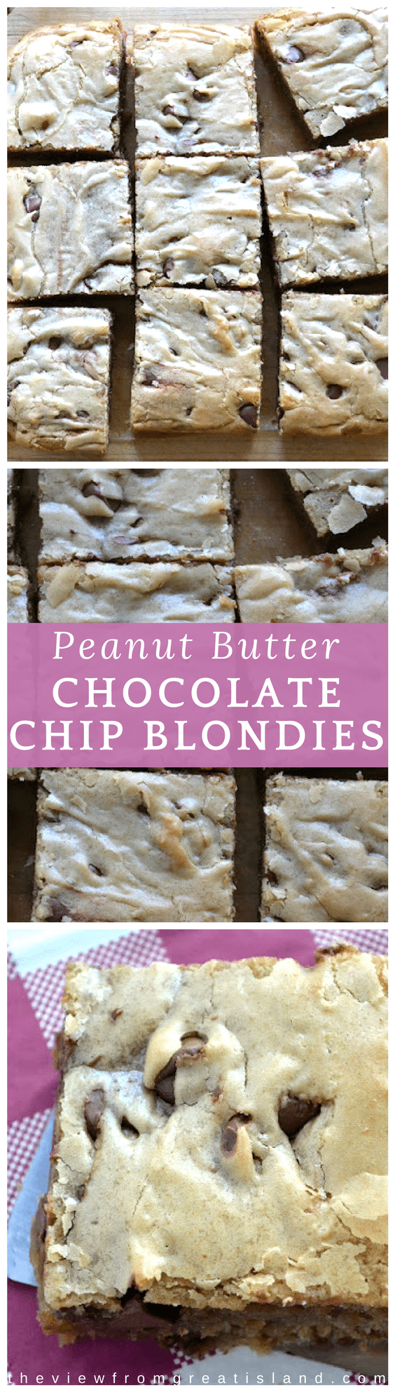 Peanut Butter Chocolate Chip Blondies ~ everybody's favorite combo in an easy one bowl dessert, these quick blondies are a delicious way to say 'I'm thinking of you'. #blondies #chocolatechip #peanutbutterchocolatechip #peanutbutterblondies #dessert #carepackage #bars #cookiebars #dessertbars #bakesale #afterschoolsnack