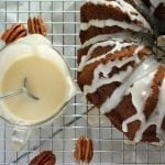Nutty Whole Grain Pumpkin Coffee Cake with Bourbon Glaze