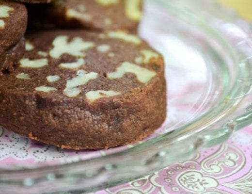 slice and bake chocolate walnut shortbread cookies
