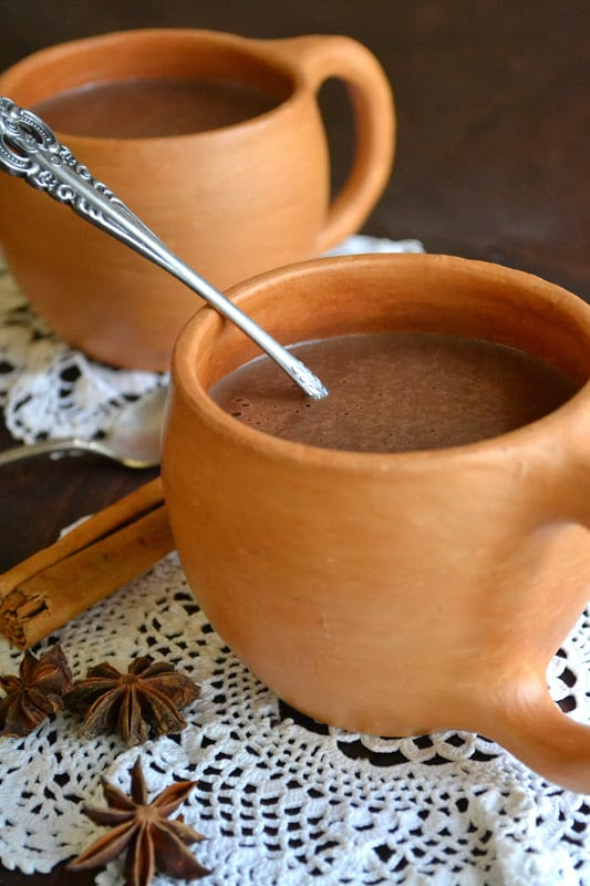 2 clay mugs of Mexican Hot Chocolate Atole