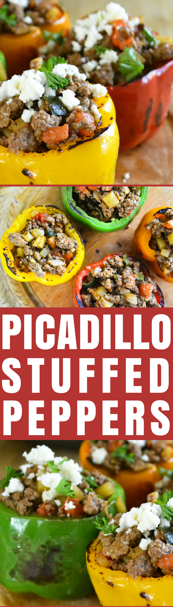 Stuffed Bell Peppers with Picadillo ~ these colorful bell peppers stuffed with a spiced ground beef, and topped with creamy queso fresco cheese are a Mexican classic that pleases the whole family. #stuffedpeppers #Mexicanrecipe #beststuffedpeppers #groundbeef #beefitswhatsfordinner #comfortfood #rainbow