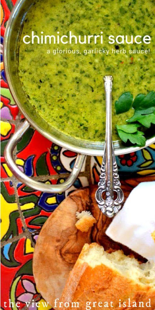 Chimichurri Sauce with spoon