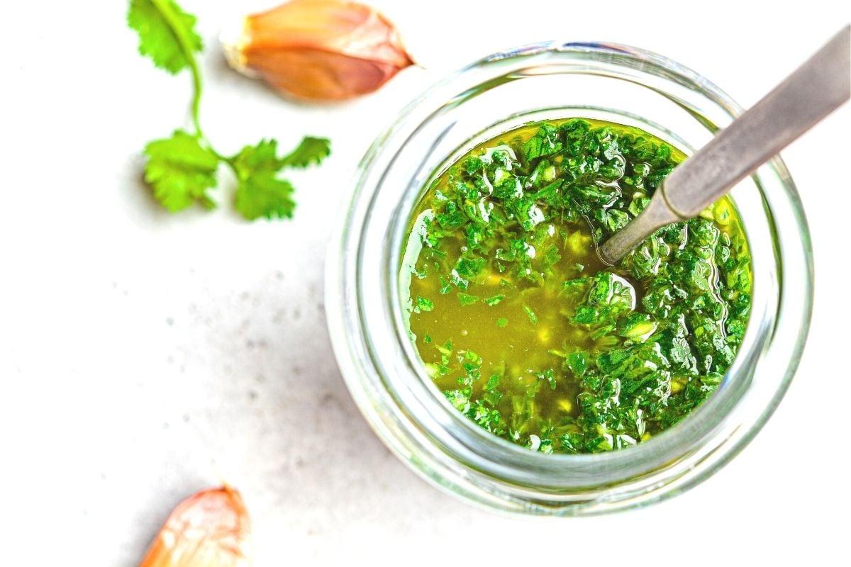 bright green chimichurri sauce