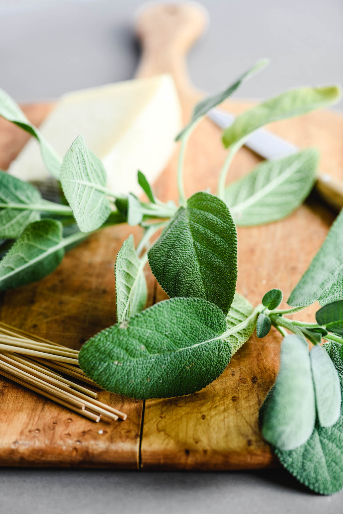 fresh sage leaves and manchego cheese