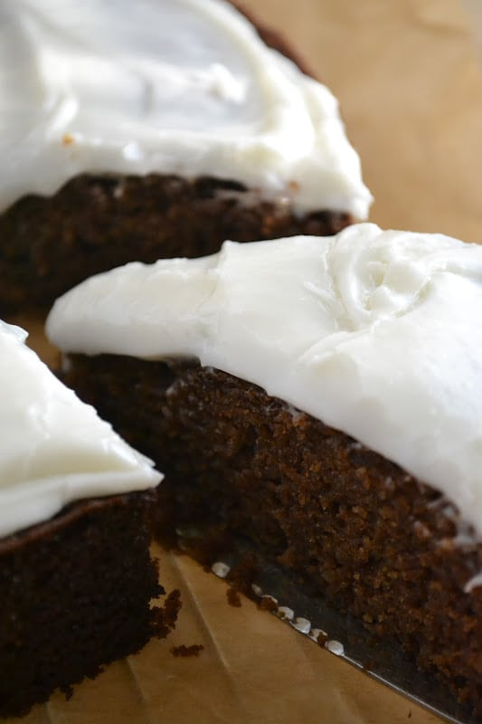 A slice of Gingerbread with Spiced Rum Buttercream