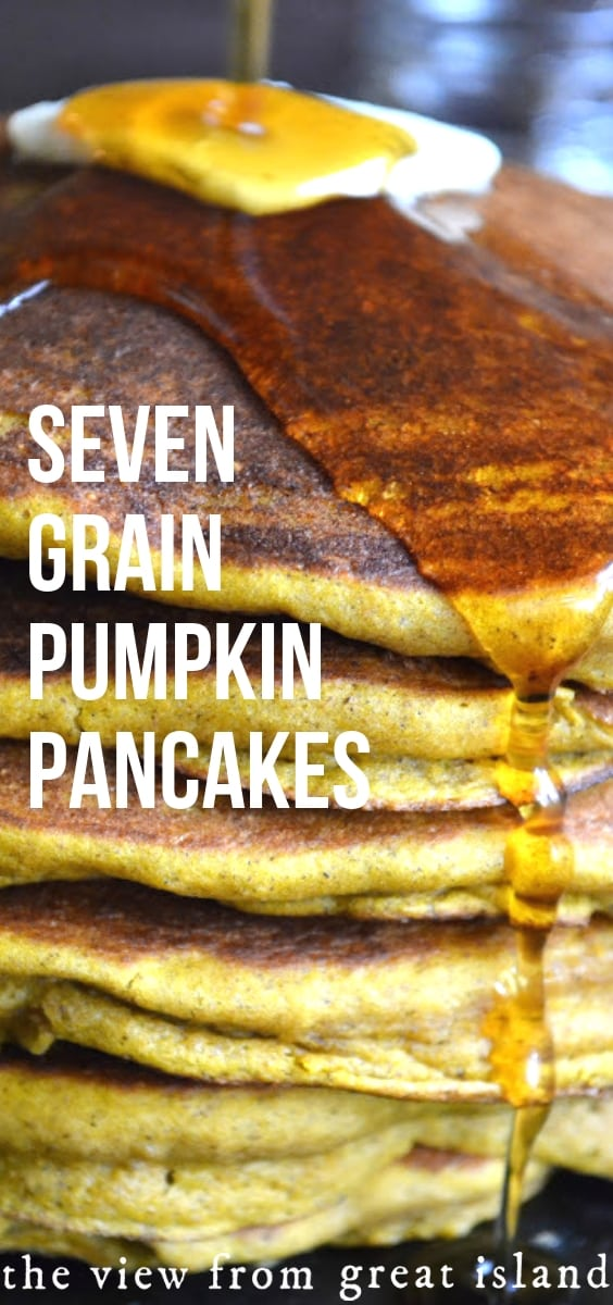 Seven Grain Pumpkin Pancakes ~ fluffy and delicious pumpkin pancakes made with seven different types of flour for the ultimate healthy-ish fall breakfast! #pumpkin #pancakes #pumpkinpancakes #fall #breakfast #brunch #wholegrain #recipe #easy #wholewheat #healthy