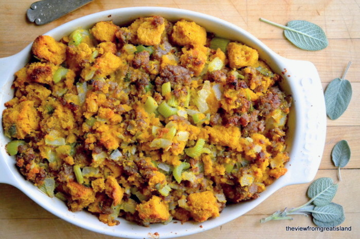 Pumpkin Cornbread Stuffing with Sausage and Sage