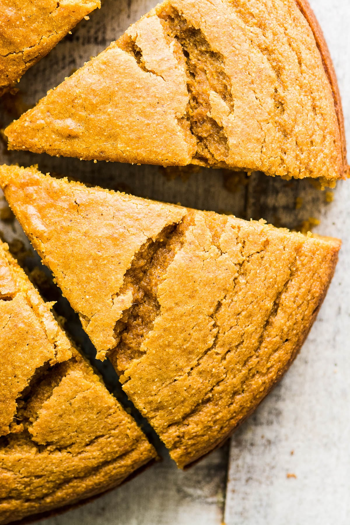 Pumpkin Cornbread, sliced into wedges