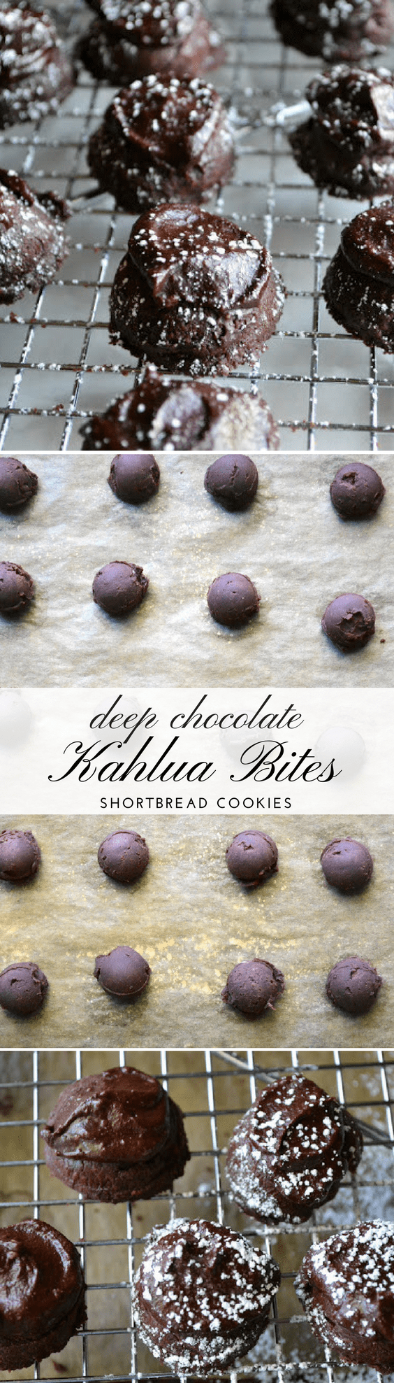 Deep Chocolate Kahlua Bites ~ little mounds of melt in your mouth chocolate shortbread topped with a deep chocolate Kahlua buttercream! #cookies #chocolatecookies #dropcookies #shortbreadcookies #coffee #kahlua #holidaycookies #Christmascookies #dessert #buttercream #darkchocolate