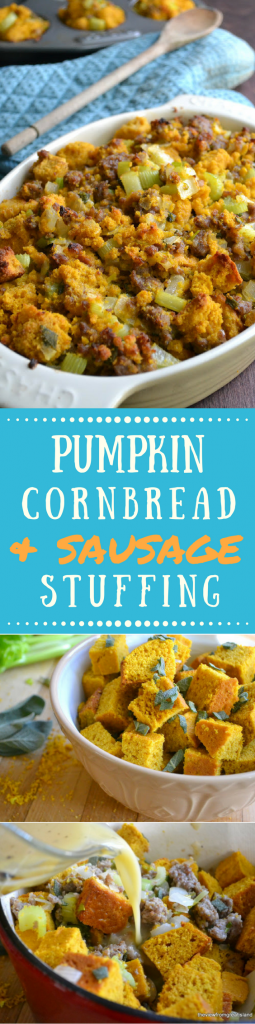 Pumpkin Cornbread Stuffing with Country Sausage and Sage ~ theviewfromgreatisland.com