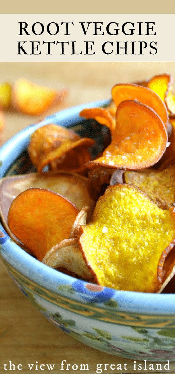 Root Veggie Kettle Chips ~ these homemade chips are fabulous and so easy to make! #homemade #appetizer #potatochips #beets #sweetpotato #yam #parsnip #snack #vegetablechips #turnips #fried #healthy #glutenfree healthysnack #rootvegetables