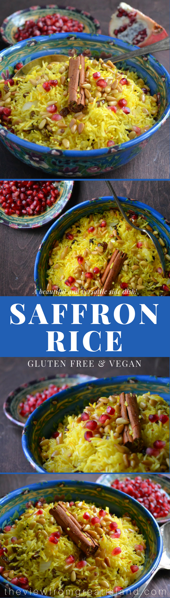 Saffron Rice is a simple but delightfully different side dish made with saffron scented basmati rice, sultanas, and pine nuts. It's gluten free and vegan! #rice #sidedish #thanksgiving #Christmas #middleeastern #glutenfree #vegan #vegetarian #pilaf #pomegranate #healthy