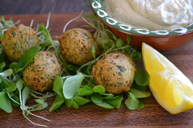 Mini Green Falafel with Yogurt Tahini Sauce