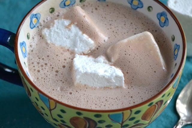 Hot cocoa with homemade vanilla bean marshmallows