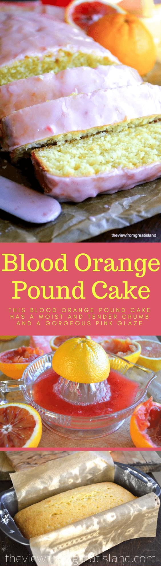 This Blood Orange Pound Cake has a moist and tender crumb and a gorgeous pink glaze thanks to some fresh squeezed blood orange juice! #cake #poundcake #orangecake #bloodoranges #coffeecake #dessert #citrus #loafcake #bloodorangecake #breakfast #brunch