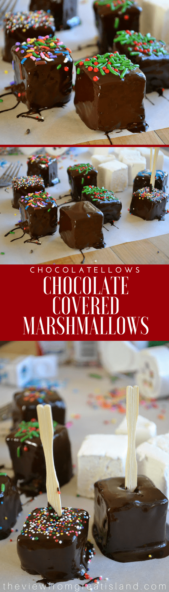 Chocolatellows are festive little chocolate covered marshmallows that are super easy to make. They'll turn plain hot chocolate into a decadent treat. #marshmallows #homemademarshmallows #chocolatemarshmallows #homemadecandy #hotcocoa #hotchocolate #Christmas #dessert #sprinkles #chocolate