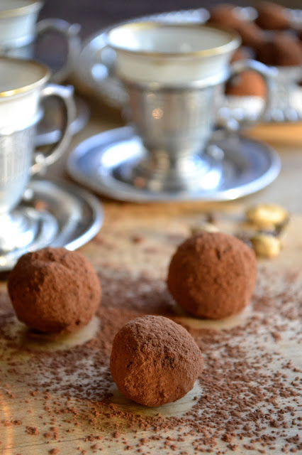 cardamom coffee truffles on a wooden table