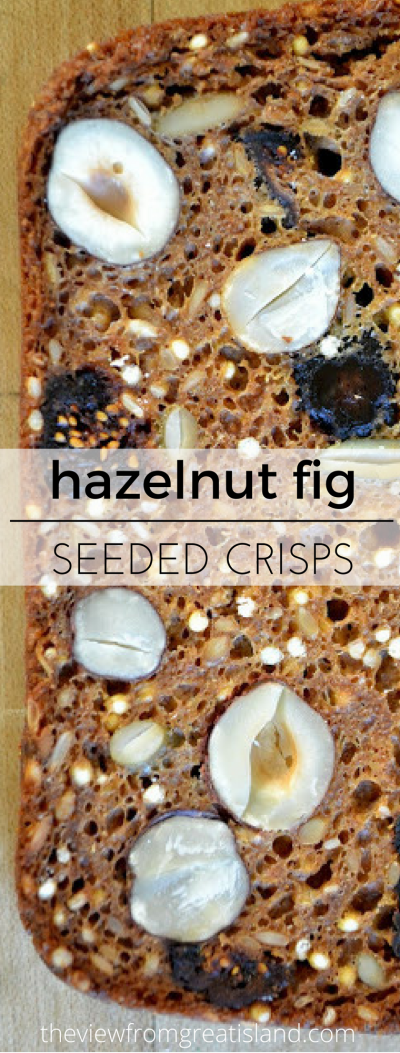 Hazelnut Fig Seeded Crisps ~ super crisp homemade crackers packed with healthy nuts and seeds #homemadecrackers #appetizer #crackers #seeds #crisps