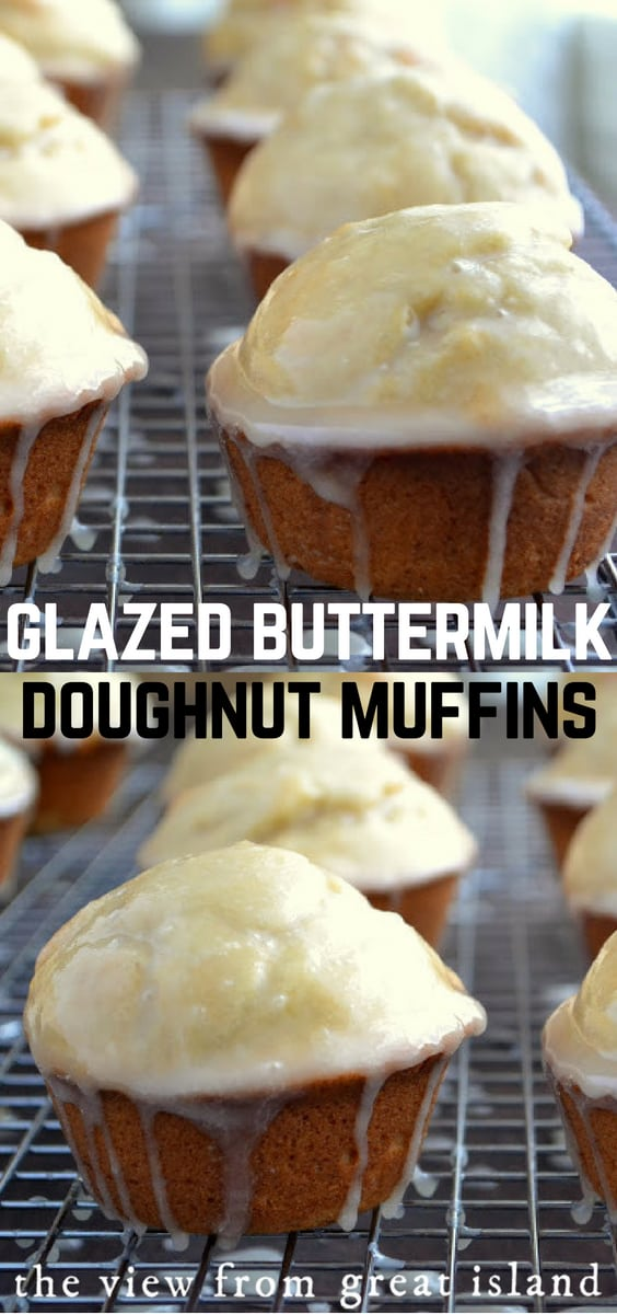 Glazed Buttermilk Doughnut Muffins ~ these sweet muffins have the texture of the perfect cakey doughnut! #breakfast #muffins #doughnuts #recipe #easy #brunch #cake #dessert #baking #glazed #buttermilk