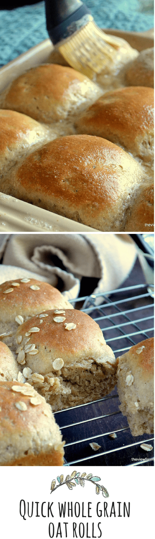 Quick Whole Grain Oat Rolls can be made, from start to finish, in about an hour ~ pinky swear! #bread #rolls #bestrolls #dinnerrolls #quickrolls #wholegrainrolls #healthyrolls #oatflour #wholewheatflour #sidedish #yeastbread