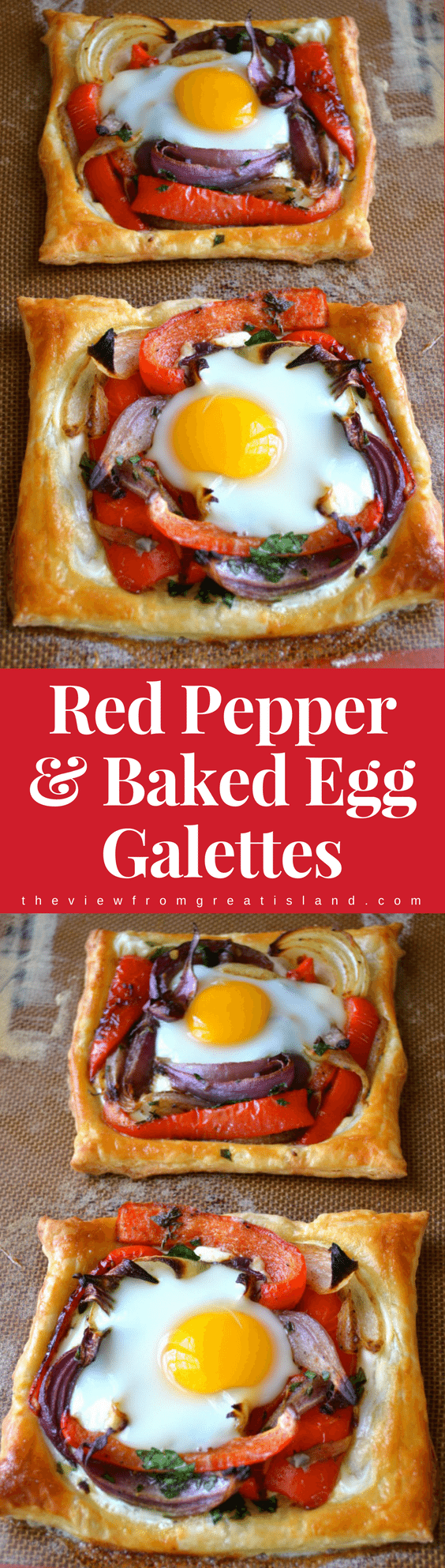 Red Pepper and Baked Egg Galettes from Jerusalem (the book) ~ these eggs baked in puff pastry are the ultimate breakfast in bed recipe! #eggs #breakfast #brunch #puffpastry #bakedeggs #breakfastinbed #mothersday #valentinesday #Christmasbreakfast #holidaybreakfast #ottolenghi #jerusalem