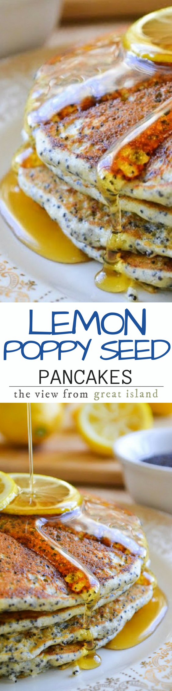 This recipe for Lemon Poppy Seed Pancakes has been tantalizing me all week. I adapted it from the Joy of Cooking. This unexpected combination is a refreshing change from regular pancakes and it's perfect for a special occasion or just any time you want to treat yourself! | Breakfast | Brunch | Citrus | Mother's Day | Spring |