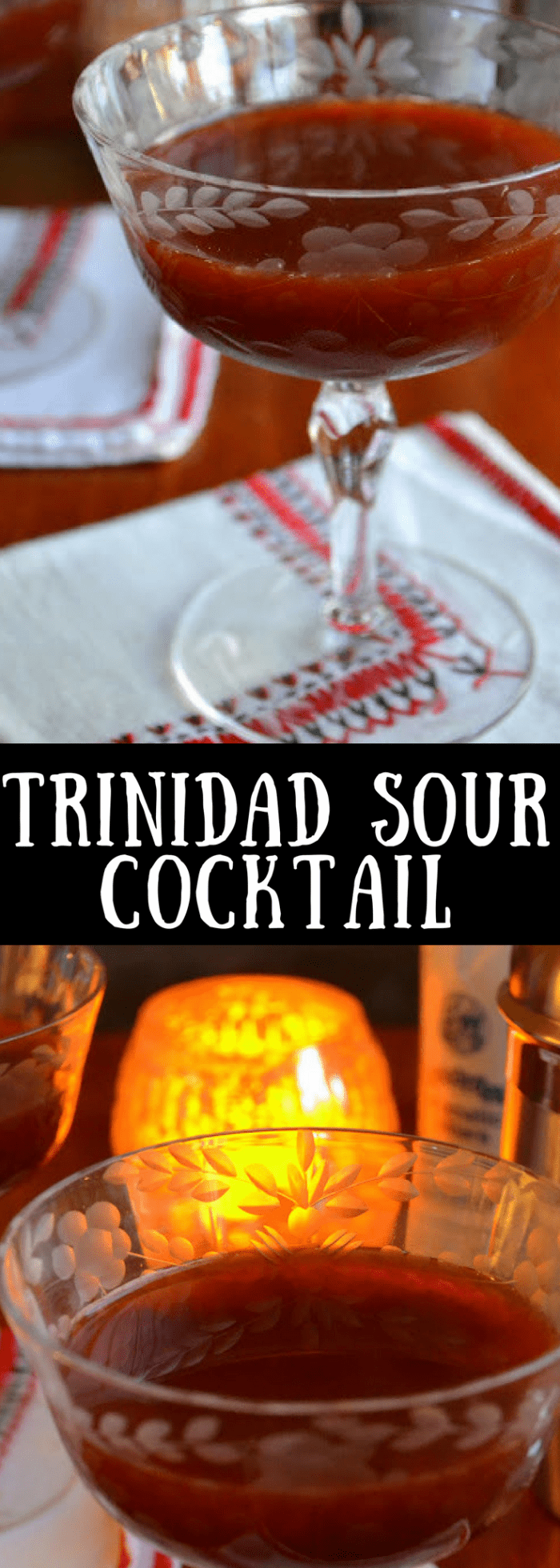 The Trinidad Sour Cocktail is quite possibly the most romantic cocktail in the world...with its deep crimson color and seductive flavor, it's definitely one you'll want to have on hand for that special night. #cocktails, #bitters #Valentinesdaycocktail #romantic #Valentinesday #datenight #redcocktail
