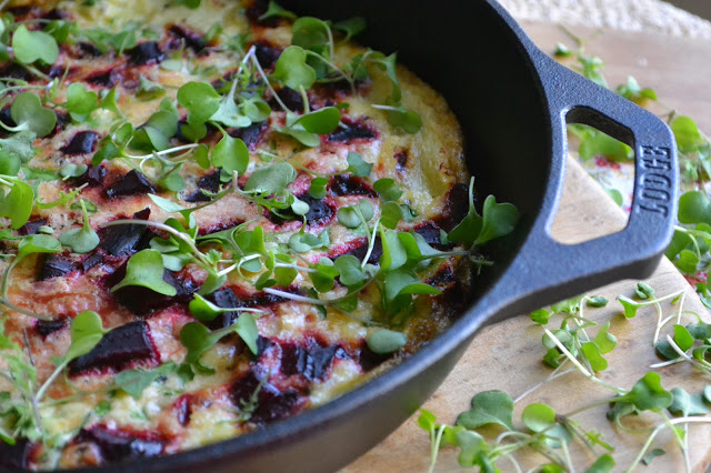 Roasted Beet and Micro Kale Egg White Frittata
