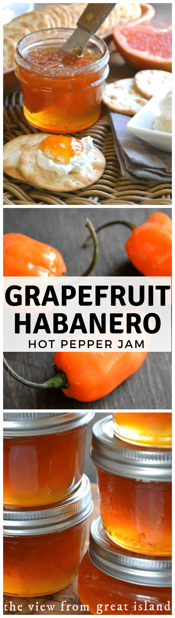 Pink Grapefruit Habanero jam is a unique hot pepper jam with anirresistiblesweet hot flavor...pair it with some cream cheese and crackers for the best appetizer ever. #appetizer #jam #recipe #easy #grapefruit #habanero #smallbatch #refrigerator #freezer #citrus #jelly