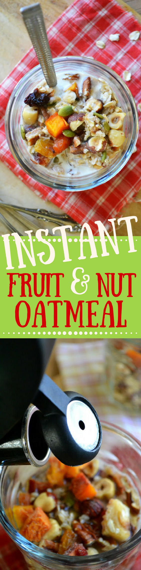 DIY Instant Fruit and Nut Oatmeal is vegan, gluten free, and an absolutely delicious way to start the day! | breakfast | muesli | overnight oats | breakfast bowl
