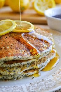 bright lemony pancakes with poppy seeds
