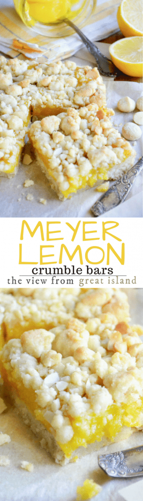 Meyer Lemon Macadamia Crumble Squares is a buttery shortbread recipe bursting with the unique floral citrus flavor of Meyer lemons and the crunch of macadamia nuts.