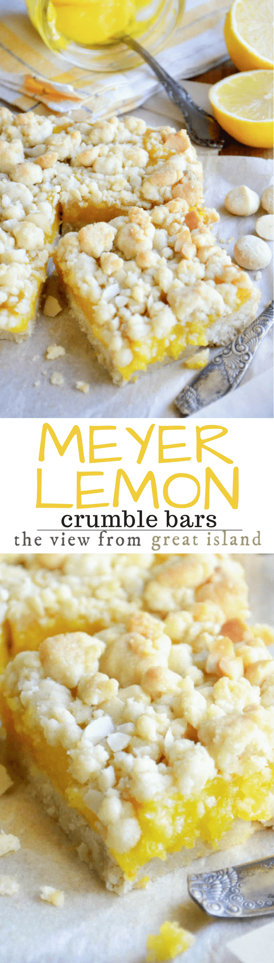 Meyer Lemon Macadamia Crumble Squares is a buttery shortbread recipe bursting with the unique floral citrus flavor of Meyer lemons and the crunch of macadamia nuts. #meyerlemon #lemonbars #macadamianuts #bestlemonbars #shortbread #crumblebars #dessert #lemoncurd #shortbreadcrumble #lemondessert