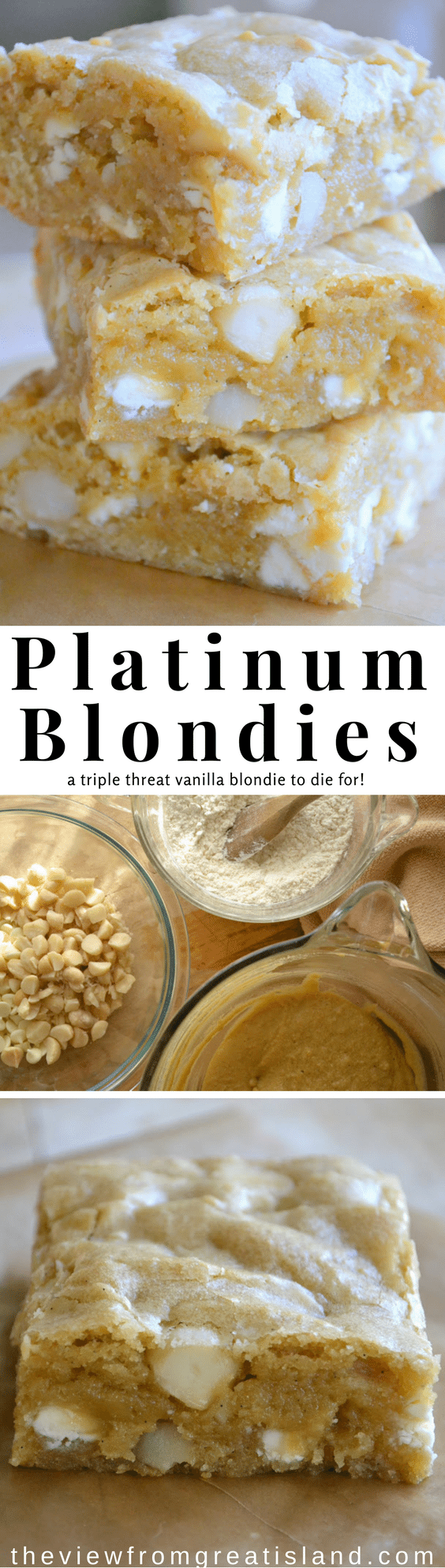 "These White Chocolate Macadamia Nut Blondies are the bombshells of the blondie world. I call them ""Platinum Blondies' and I love them. You will too. #blondies #brownies #whitechocolate #macadamianut #bestblondies #dessert #easydessert"