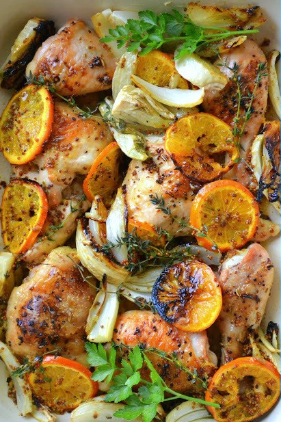 Roasted Chicken with Clementines on a sheet pan