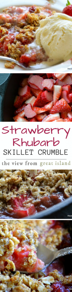 Strawberry Rhubarb Skillet Crumble is a naturally gluten free dessert ~ don't forget the scoop of ice cream! | berries | spring | Easter | Mother's Day