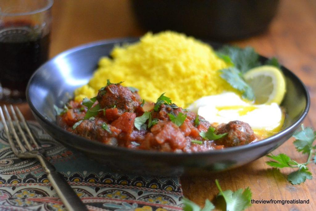 Meatball, Tomato and Egg Tagine with Lemon Saffron Couscous
