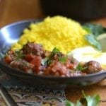 Meatball, Tomato and Egg Tagine with Lemon Saffron Couscous
