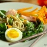 Yellow Miso Ramen with Asparagus and Salmon