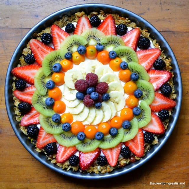 Beautiful fruit and yogurt breakfast tart in a round pan 2