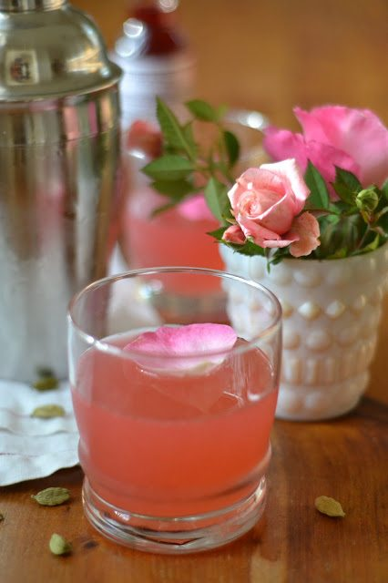 Cardamom Rose Cocktail with baby roses