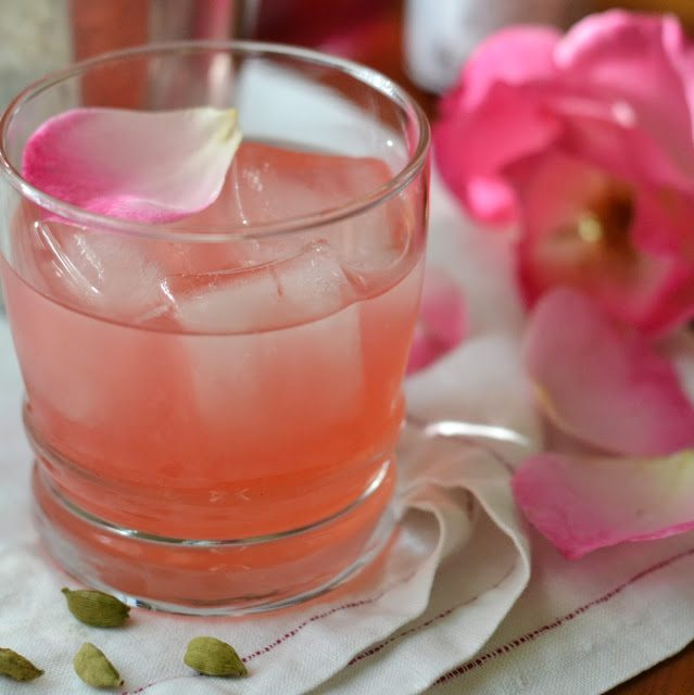 Cardamom Rose Cocktail on the rocks