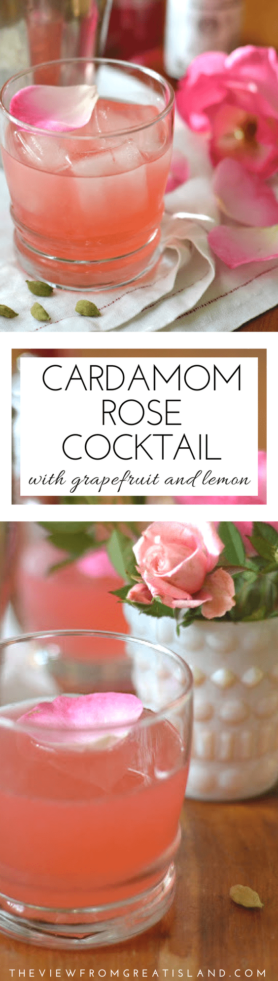 The Cardamom Rose Cocktail is a special occasion cocktail that will take you from New Year's Eve, to Valentine's Day, and all the way back to the winter holidays! #cocktail #cardamom #peychaudsbitters #gin #rose #edibleflowers #rosecocktail #cardamomcocktail #valentinesdaycocktail #grapefruitcocktail
