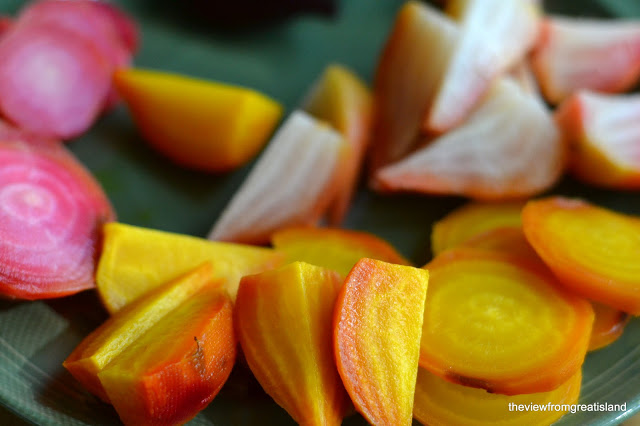 Colorful roasted beets for Grapefruit and Roasted Beet Salad