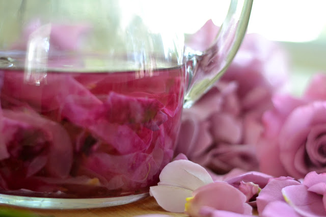 rose petals for rose simple syrup