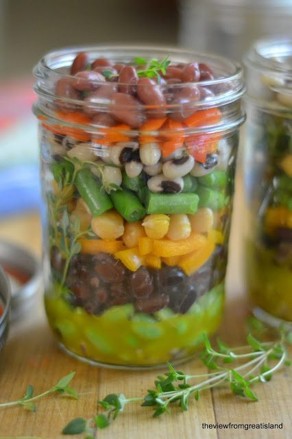 Photo of a jar of Mason Jar 7 Bean Salad